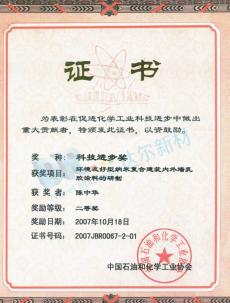 中国石油和化学工业协会科技进步奖-陈中华